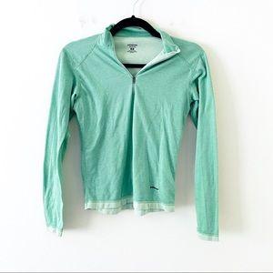 PATAGONIA Green Capilene Half Zip Long Sleeve Top